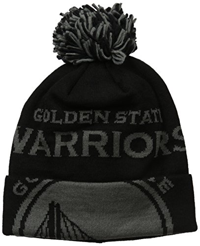 NBA Golden State Warriors Fanwear Black Cuffed Pom - Basketball Beanie With Pom