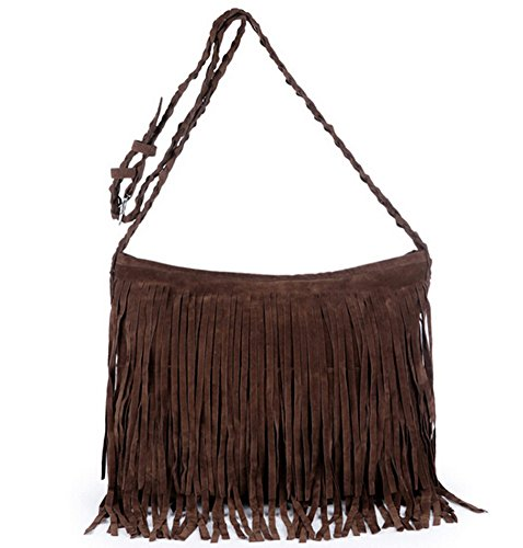 Hippie Suede Fringe Tassel Messenger Bag Women Hobo Shoulder Bags Crossbody Handbag (coffee) Hippie Suede Shoulder Bag