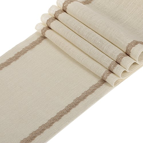 Ling's moment 12x48 Inch White Burlap Table Runner with Latte Leaf Trim Spring Garden Rustic Wedding Decoration, Baby & Bridal Shower Décor. Farmhouse (Halloween Decorations Houston Texas)