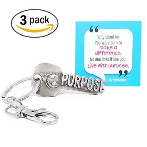3-PACK key2Bme PURPOSE key - world globe keychain & inspirational quote - the cool fun unique small volunteer appreciation thank you gift under $10 for giving teen friend women teacher Peace Corps