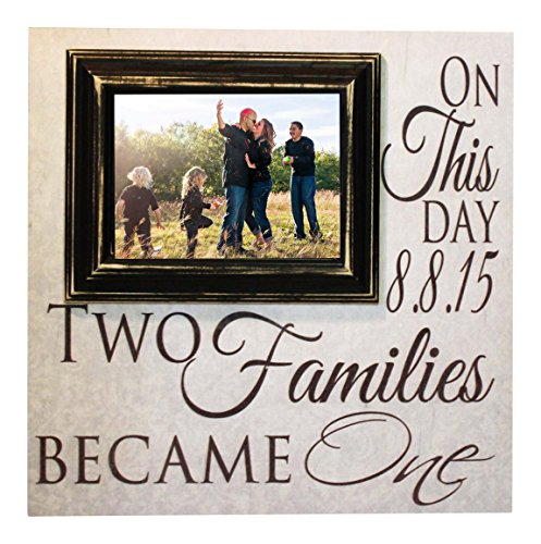 Blended Family Picture Frame Two Families Become One Personalized 16x16 sign with a 5x7 Picture Frame- Madi Kay Designs