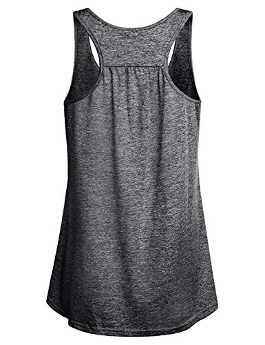 Miusey Sleeveless Tops for Women Ladies Loose Summer Cotton Casual Sports Flowy Cute Moisture Wicking Exercise Workout Racerback Tank Grey M by Miusey (Image #1)
