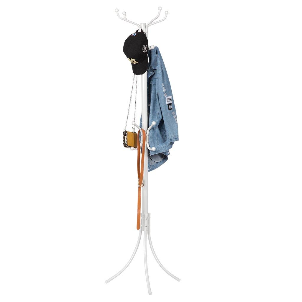 LANGRIA Perchero de Pie Metálico Tipo Árbol Acabado Elegante 16 Ganchos para Colgar Abrigos Chaquetas Accesorios para Pasillo Entrada Habitación Vestíbulo Oficina (Blanco)