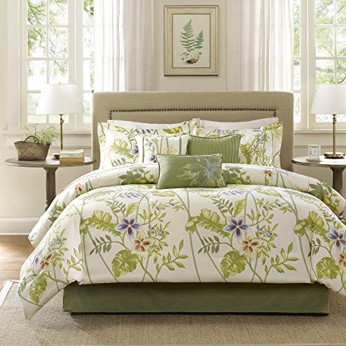 Madison Park Kannapali Queen Size Bed Comforter Set Bed in A Bag - Green, Ivory, Leaf, Flowers - 7 Pieces Bedding Sets - 100% Cotton Sateen Bedroom Comforters (Queen Bedding Tropical Sets)