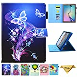 Galaxy Tab A 10.1 Case, T580 Case, JZCreater PU Leather Folio Stand Wallet Case, Auto Sleep/Wake Smart Cover for Samsung Galaxy Tab A 10.1' SM-T580/T585, Purple Butterfly