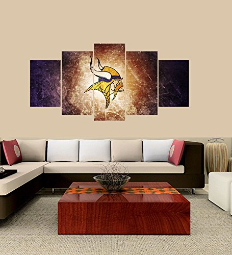 PEACOCK JEWELS [Large] Premium Quality Canvas Printed Wall Art Poster 5 Pieces / 5 Pannel Wall Decor Minnesota Vikings Painting, Home Decor Pictures - - Minnesota Wall Vikings