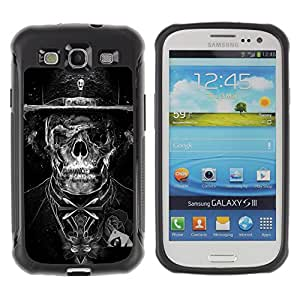 ZAKO CASES / Samsung Galaxy S3 I9300 / Goth Dark Skull Skeleton Tuxedo / Robusto Prueba de choques Caso Billetera cubierta Shell Armor Funda Case Cover Slim Armor