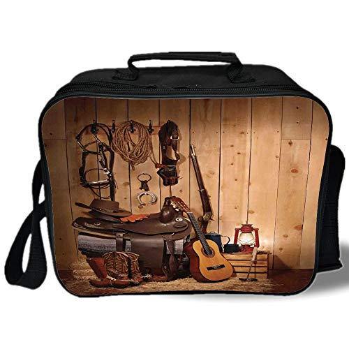 (Western Decor 3D Print Insulated Lunch Bag,American Texas Style Country Music Guitar Cowboy Boots USA Folk Culture,for Work/School/Picnic,Cream and Brown)