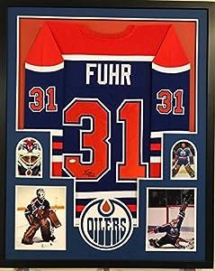 Framed Grant Fuhr Autographed Signed Edmonton Oilers Jersey Jsa Coa
