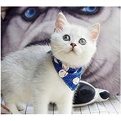 Stock Show Pet Cat Triangle Bibs Scarf with Botton Cute Fashion Neckerchief Collar Necktie for Kitten/Kitty/Puppy, L, Blue
