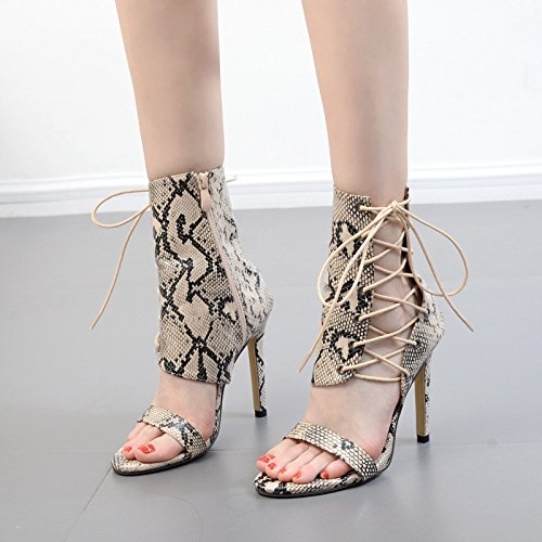 dew boots shoes summer suede new with ZHZNVX strap The black exposed cross toe boots snakeskin boots Female high single cold heel fine Axax6qXI