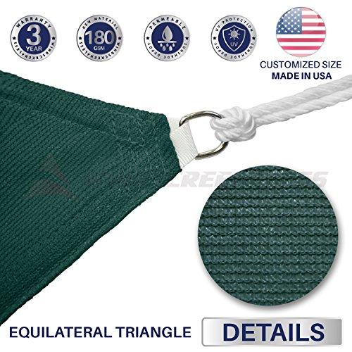 Windscreen4less 12ftx12ftx12ft Sun Shade Sail UV Block Fabric Canopy in Green Triangle Garden Patio Customized 3 Year Warranty , x 12