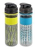 Rubbermaid Design Series Chug Bottles w/Flip-Top Lid-BPA Free, Odor & Stain Resistant-Great for On the Go-Finger Loop & No-Slip Grip Design, 20oz, Line & Cross Pattern – 2 Pack