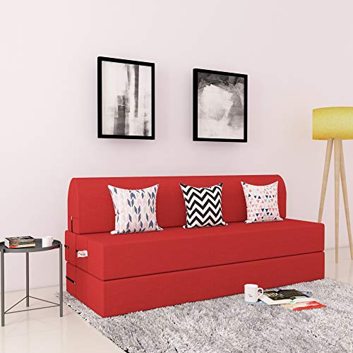 Adorn Homez 3 Seater Sofa Cum Bed 5 #39;x6 #39; Feet with Washable Cover and Free Cushion Covers  Red