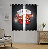 iPrint Stylish Window Curtains,Poker Tournament Decorations,Vibrant Dices and Playing Card Casino Theme Luck Risky Game,Multicolor,2 Panel Set Window Drapes,for Living Room Bedroom Kitchen Cafe