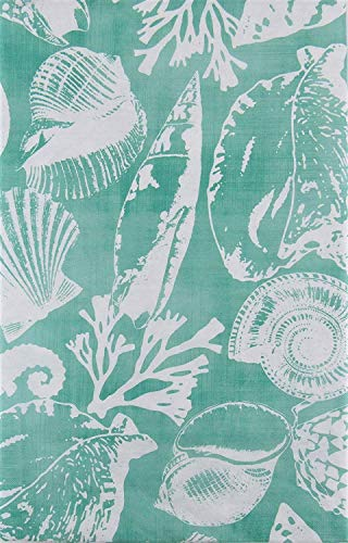 (Seashells, Seahorses and Coral (White on Turquoise) Vinyl Flannel Back Tablecloth (60