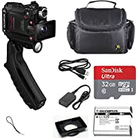 Olympus Tough TG-Tracker UHD 4K Wi-Fi GPS Shock Waterproof Video Camera Camcorder (Black) with Steady Grip + SanDisk Ultra 32GB microSDHC Memory Card + Carrying Case