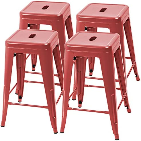 Furmax 24 Inches Metal Bar Stools High Backless Indoor-Outdoor Counter Height Stackable Stools Set of 4 Red