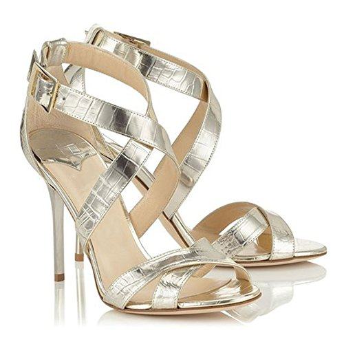 Plateado Zapatos Minitoo mujer tacón de plata YIqnvB