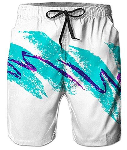 Mens Bathing Suit Shorts Cute Short Swim Trunks Guys Paper-Cup Hot PatternTropical Hawaii Modest Beach Shorts S