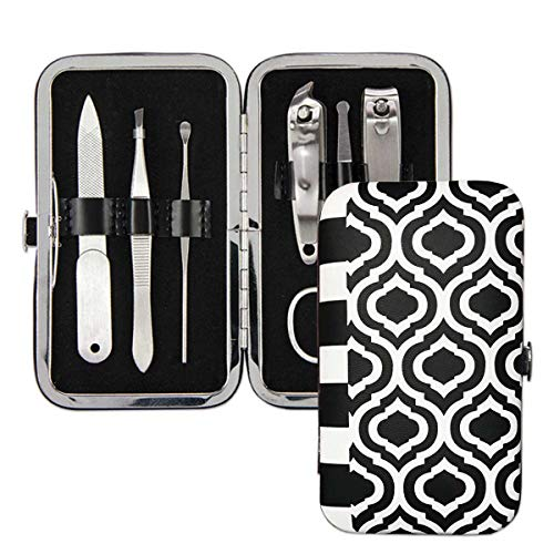 Brownlow Gifts Black and White Manicure Set, 6-Piece, Geometric