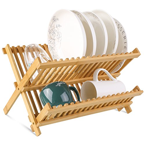 (HOMFA Bamboo Dish Rack Plate Rack Collapsible Dish Drying Rack Multifunctional Dish Strainer 2 Tier for Holding Plates, Cups, Glass)