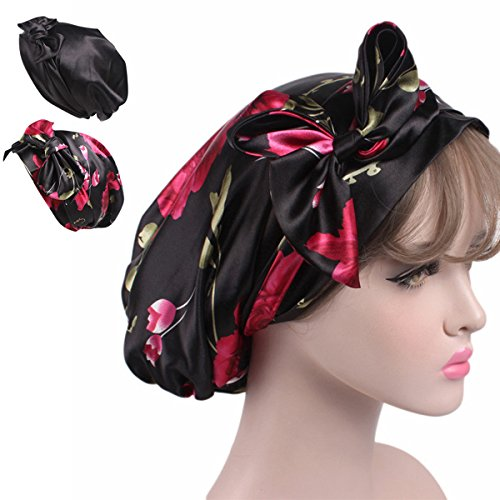 Silk Bonnet - Satin Silk Hair Head Scarf – 2 Bonnet Night Cap Chemo Hat Sleep Curly Natural
