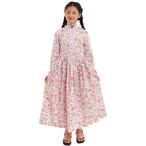 GRACEART Pioneer Costume Colonial Prairie Dress for Girls 100% Cotton (Rose,Size-8)