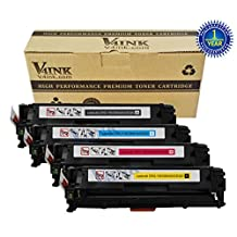 V4INK® Replacement CB540A CB541A CB542A CB543A 125A Toner Cartridge-(1Black,1Cyan,1Magenta,1Yellow) (KCMY)