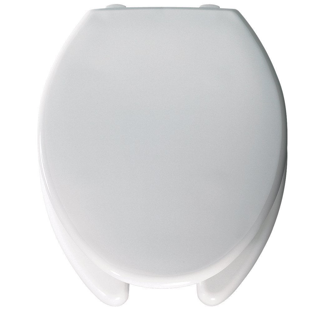 Bemis Medic-Aid 3'' Lift Raised Open Front Plastic Toilet Seat with Cover, Elongated, White, 3L2150T 000