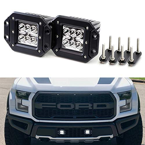 iJDMTOY Xenon White Flush Mount LED Podlamp Kit For Trucks/SUVs With Grille Mesh, Includes (2) 24W High Power CREE LED Pod Lights, Behind Grille Mesh Metal Mount Brackets & Toggle Switch Relay Wiring ()