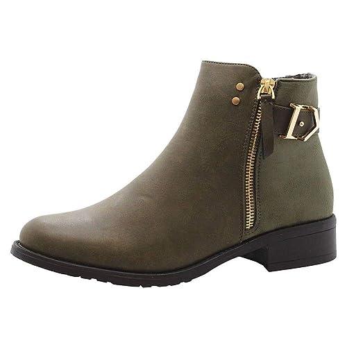 De Las Mujeres Plano Tacones de Bloque El Chelsea Colegio Botines tamaño 36-41: Amazon.es: Zapatos y complementos