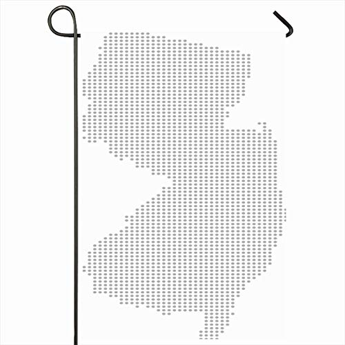 Ahawoso Outdoor Garden Flag 12x18 Inches Digital Gray Atlas New Jersey USA State Map Faded Dots Abstract Black White Border Cartography Circle Dotted Design Seasonal Double Sides House Yard -