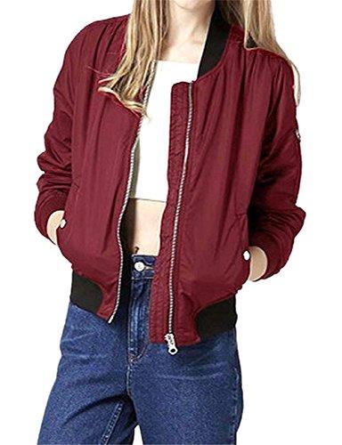 vendimia del larga para de bombardero Abrigo la Fortuning's 1 la largo moda de mujeres JDS manga de de la Vino la chaqueta las Tinto xP7Y46qYw