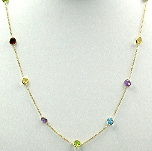 18 Inch Multi-Color Gemstone Necklace 14K Yellow Gold Chain 3.6 Grams with Lobster Lock (Yellow Stone Multi Gold Color)