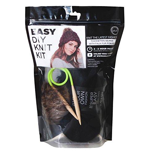D&Y Shil DIY Thick & Think Beanie with Fur Pom Hat Knit Kit Nolita -Black