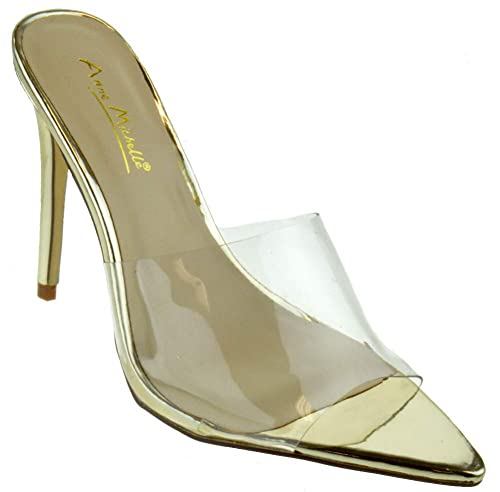 ce9056bbadc4a Anne Michelle Exception 01S Womens Classic Double Band Stiletto Mule Heel  Pointed Toe Pumps