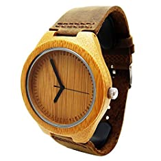 Handmade Wooden Watch Made with Natural Bamboo Wood in Brown Leather Strap - HGW-158