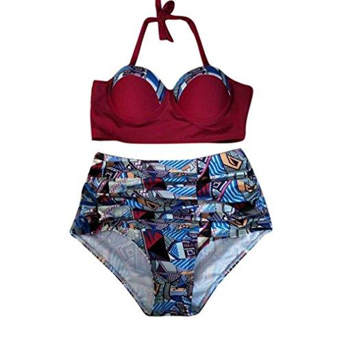 73ba47aa686da GOTD Women Hater Push up Bathing Suit Two Piece Backless Hight Waist Bikini  Swimwear Plus Size (2XL, Red)