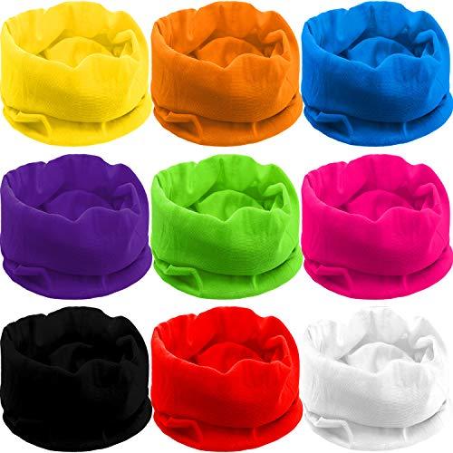 Blulu 9 Pieces Outdoor Multifunctional Sport Headwear, Elastic Seamless Headband Face Bandana Mask, Neck Balaclava for Cycling, Fishing, Running, Outdoor Head Scarf UV Resistence (Solid Color B)