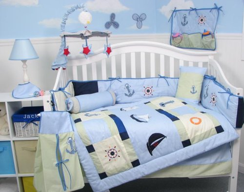 Sailboat Toddler Bedding (SoHo Baby Sailboat Baby Crib Nursery Bedding Set 13 pcs included Diaper Bag with Changing Pad & Bottle Case)