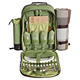 Cheap Picnic Pack Picnic Backpack for 4 with Insulated Cooler and Plaid Blanket