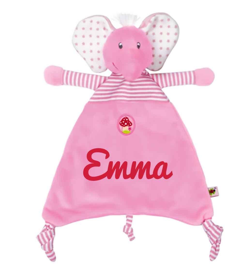 Spiegelburg 13965 Babygl/ück Schmusetuch Elefant rosa mit Namen Bestickt