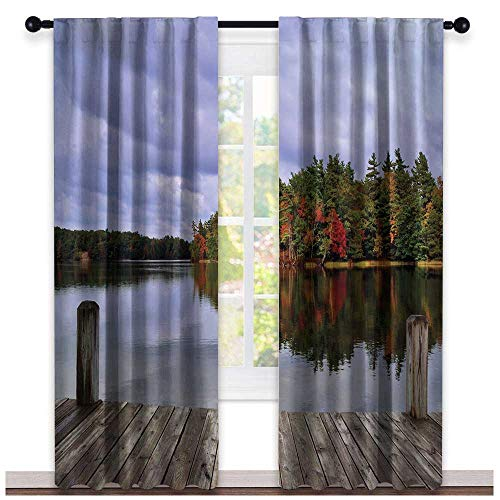 (hengshu Lake, Curtains Door Window, Wooden Dock and Island Ablaze in Fall Splendor Ludington State Park in Michigan USA, Curtains Kitchen Valance, W84 x L108 Inch Multicolor)