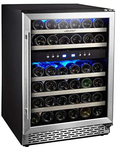 Phiestina 24'' Built-in or Free-standing 46 Bottle Wine Cooler Refrigerator. Pro Stainless Steel Frame & Door, Handle. Sliding Racks. Compressor Cooling with Press Button Temperature Setting by Phiestina