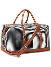 Women Travel Duffel Weekender Carryon Shoulder Tote Bag Canvas PU Leather