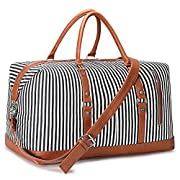 S-ZONE OversizedCanvas PU Leather Trim Travel Duffel Bag Weekender Bag for Women and Ladies (Black)
