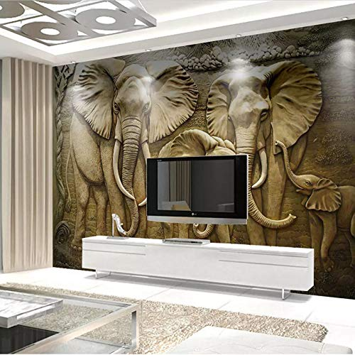 Wood Mural Elephant (Mural Large Wallpaper Living Room Decoration-Woodcarving Thai Embossed Elephant 450Cmx330Cmmodern Minimalist Non-Woven Wallpaper Custom Photo Wallpaper Hand Painted Restaurant Corridor)