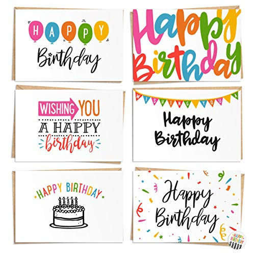 120 Pack Happy Birthday Cards - Bulk Set Includes 6 Designs, Craft Paper Envelopes and Labels Included, 4 x 6 ()