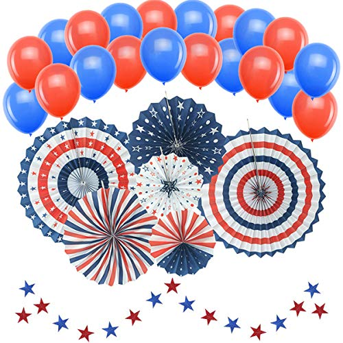 (Patriotic Decorations, American Independence Day july 4th (50 pcs) - Include 6pcs Blue Red and White Paper Fans, 20pcs Blue and Red Balloons, 24 Star Streamers Party Decor Supplies )
